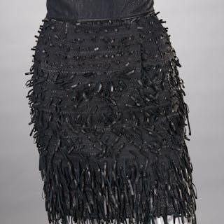 Fendi ladies black leather skirt