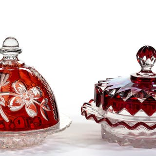 ASSORTED EAPG - RUBY-STAINED COVERED BUTTER DISHES, LOT OF TWO
