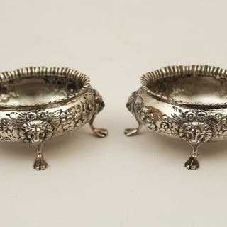 PR. OF ENGLISH SILVER REPOUSSE SALT CELLARS