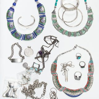 Selection of Southwestern Jewelry, Mostly Silver