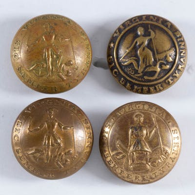 CIVIL WAR CONFEDERATE VIRGINIA STATE UNIFORM BUTTONS, LOT OF FOUR