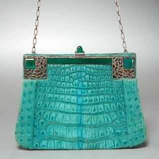 Jacomo Paris jade green suede evening bag