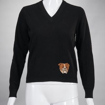 Gucci black cashmere sweater with bulldog