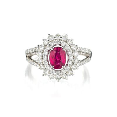 Orianne Unheated Ruby and Diamond Ring