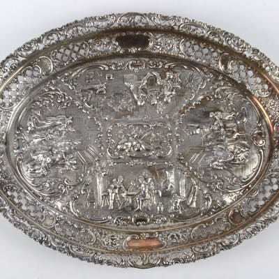 German .800 silver Rococo Revival reticulated nut bowl - B