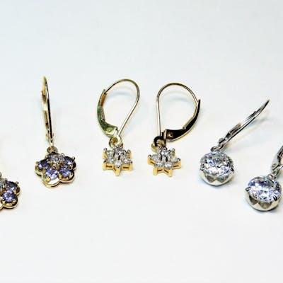 3PR 14K Gold Diamond & Cubic Zirconia Earrings