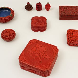 9 PC. LOT OF CARVED CINNABAR