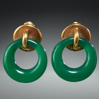 18k gold & jadeite clip style earrings