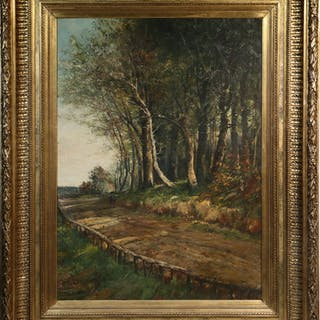 UNSIGNED MONUMENTAL BARBIZON SCHOOL PAINTING