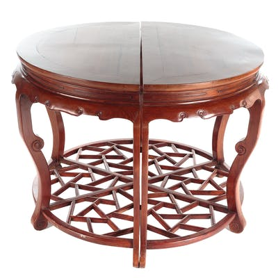 Pair Chinese Huanghuali Half-Moon Tables