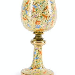 A Bohemian enameled glass chalice
