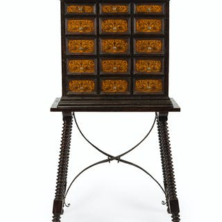 A Spanish-style seaweed-inlaid vargueno on stand