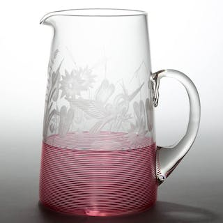 SANDWICH BLOWN, THREADED, AND ENGRAVED TANKARD PITCHER