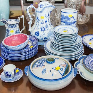 Assortment of Decorative Blue and White China
