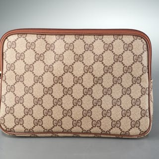 Vintage Gucci monogram canvas cosmetic pouch