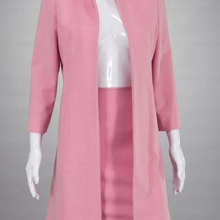Cynthia Rose pink cashmere skirt and coat ensemble