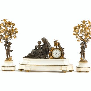 A gilt-bronze and marble figural clock and garniture set