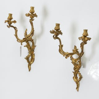 Pair Louis XV style ormolu candle sconces