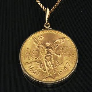50 DOLLAR MEXICAN PESO GOLD COIN W/ CHAIN