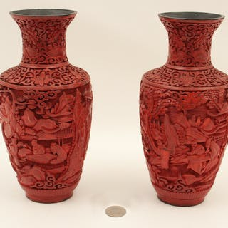 PR. OF CHINESE CINNABAR VASES