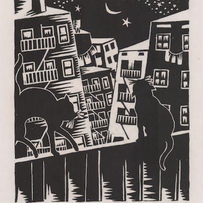 Margaret Schiremann Woodcut [Cats, City]