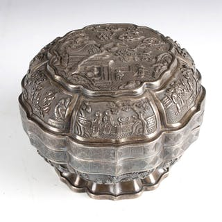 CHINESE SILVER METAL REPOUSSED LIDDED BOX