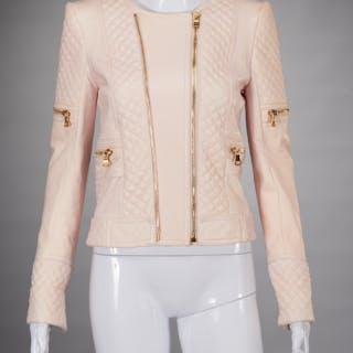 Balmain Paris pale pink lambskin jacket