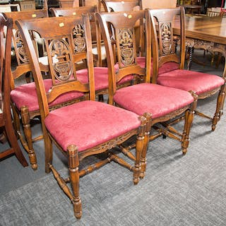 Six French Style Oak Side Chairs