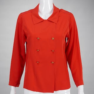 Chanel Boutique red silk blouse