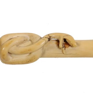 19TH C. IVORY HANDLED SNAKE CARVED CANE