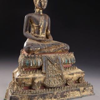 Thai polychrome bronze Buddha.