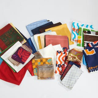Group of gentlemen's designer pocket squares