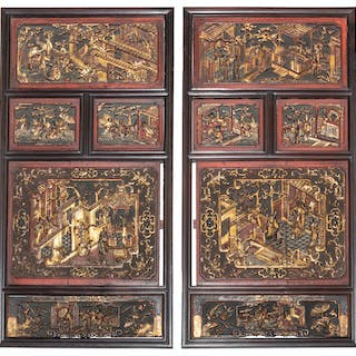 A pair of Chinese carved panels