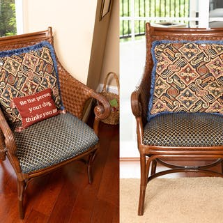 Pair of Andre Originals Woven Rattan Chairs