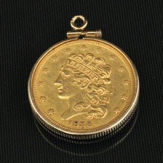 1838 5 DOLLAR GOLD COIN W/BEZEL;  9.4 GR TW