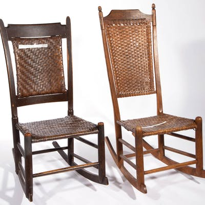 SHENANDOAH VALLEY OF VIRGINIA SPLIT-BOTTOM AND BACK ROCKERS, LOT OF TWO