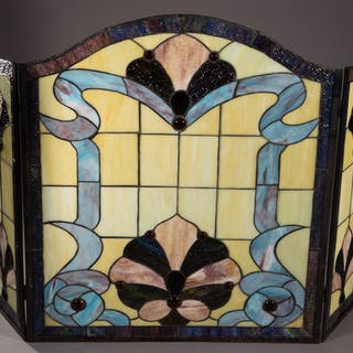 LEADED AND STAINED-GLASS TRIPTYCH