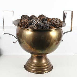 Huge Bauhaus style brass urn