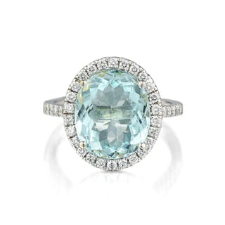 A 4.29-Carat Paraiba Tourmaline and Diamond Ring