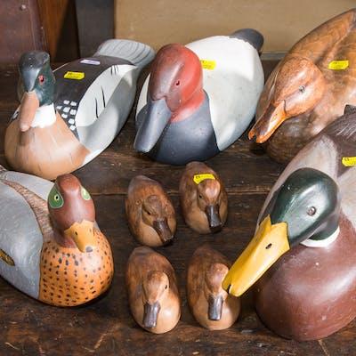 Nine Decorative Carved Wood Ducks