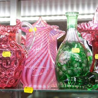 Four Colored Glass Items