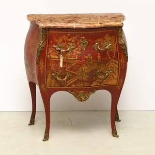 Antique Louis XV style red japanned commode