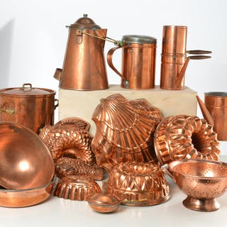 Collection assorted copper cookware