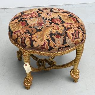 Napoleon III style giltwood rope tassel stool