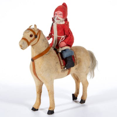 GERMAN SANTA CLAUS ON HORSE CANDY CONTAINER
