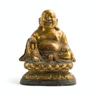 A Chinese gilt-bronze Budai