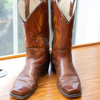 Pair of Stuart McGuire Men's Leather Cowboy Boots