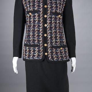 Chanel Boutique black tweed skirt suit
