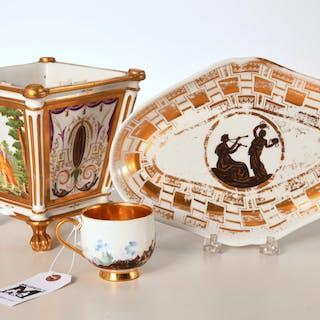 (3) Continental gilt porcelains, incl. Meissen