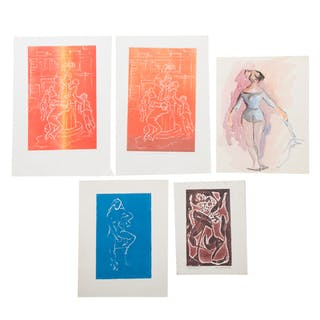 Ina Helrich. Five Embossed Color Aquatints
